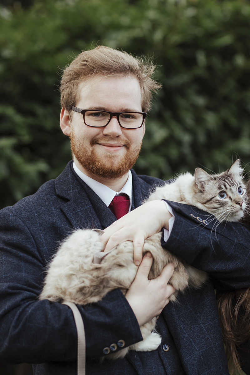 when man's best friend is a cat, man holding ragdoll cat, ©Olga Hogan Photography | engagement photos with cats
