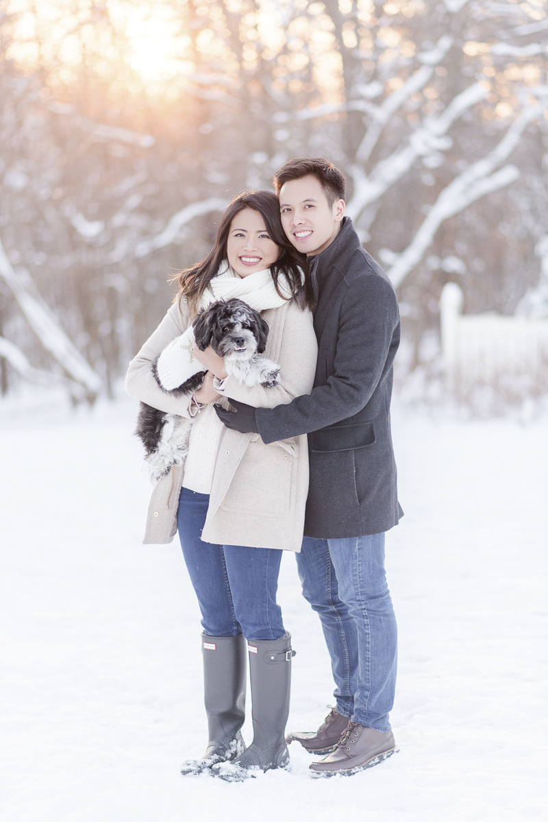 Engagement photos in the snow during sunset, | ©Rebecca Sigety Photography, Reston, VA