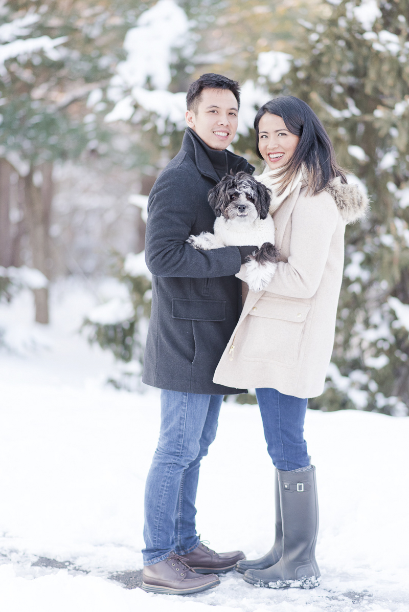 ©Rebecca Sigety Photography | snowy engagement photos with a dog, Reston, VA