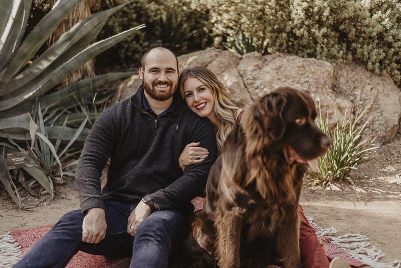 brown Newfie and his favorite people, on location family portraits, ©Tracie Edwards Photography | Desert Botanical Garden