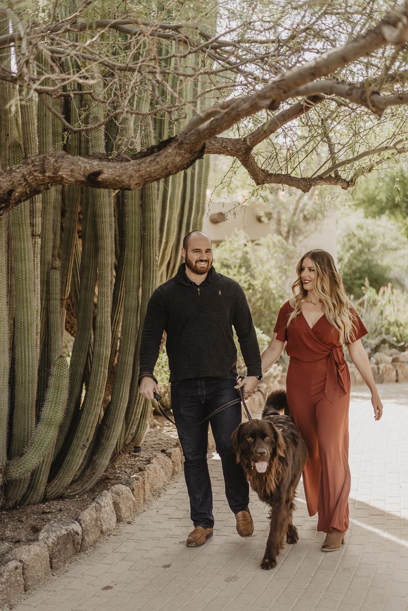 couple walking their dog, Desert Botanical Gardens, ©Traci Edwards Photography