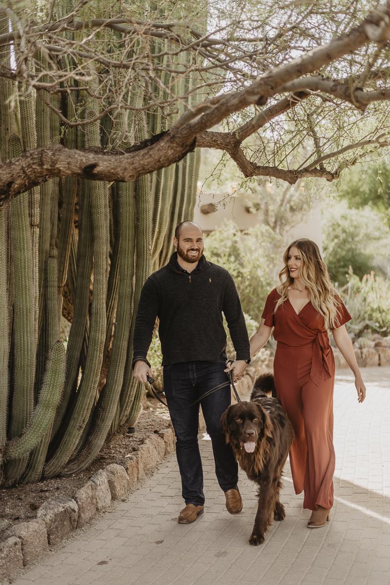 couple walking their dog, Desert Botanical Gardens, ©Traci Edwards Photography