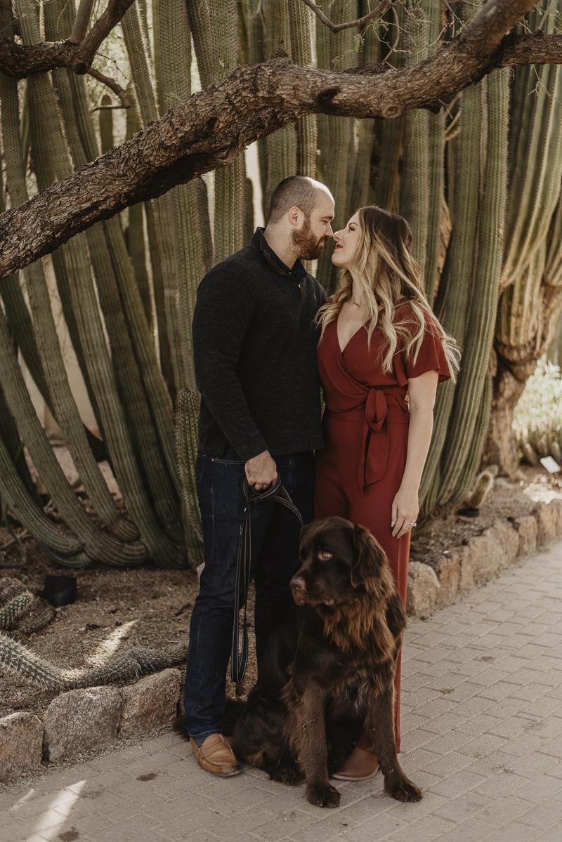 ©Traci Edwards Photography | lifestyle dog photography, Newfie and couple in Desert Botanical Gardens