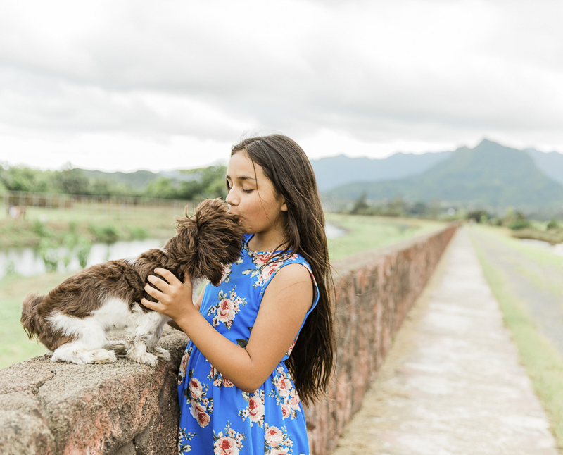 girl and her dog, young girl kissing little brown and white dog ©Storm Elaine Photography   family photos with a dog, Oahu, Hawaii