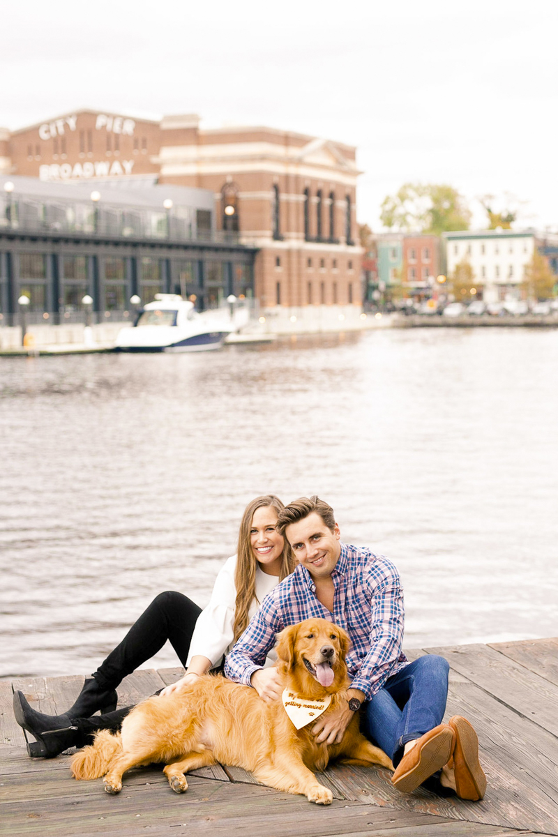 Fells Point engagement photos with a Golden Retriever, ©Amanda McPhee Studios