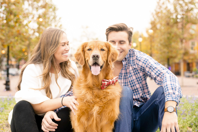 Gus the Golden Retriever wearing plaid bow tie, engagement photos with a dog, Fells Point, MD