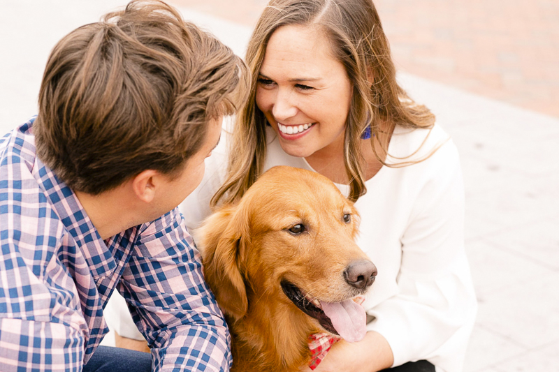 engagement photos with Gus the Golden Retriever