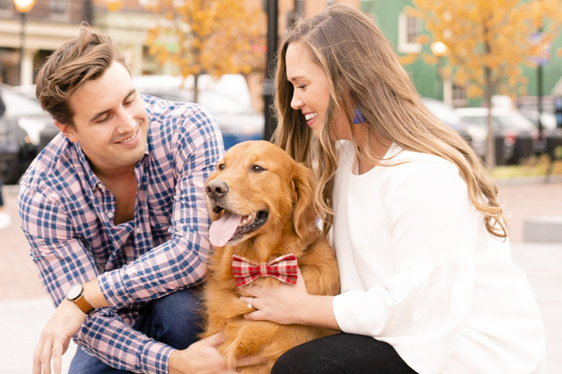 fall engagement photos with a dog, Fells Point, MD, ©Amanda McPhee Studios