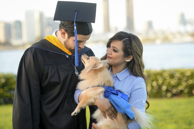 graduation photos with a dog, ©CR Photography | dog-friendly graduation photos, National University