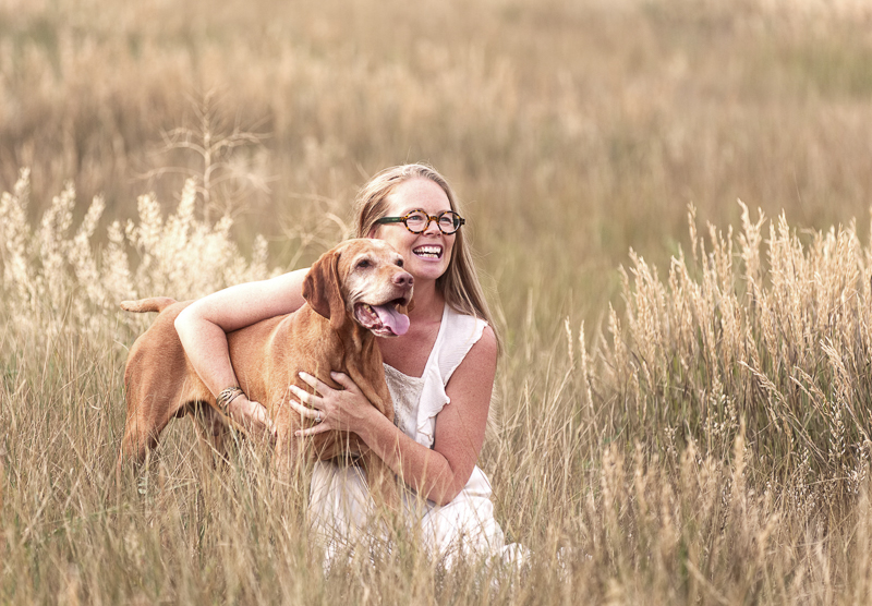 """""""heart dog"""" woman and her dog in a field, on location dog photography, Arvada, Colorado 
