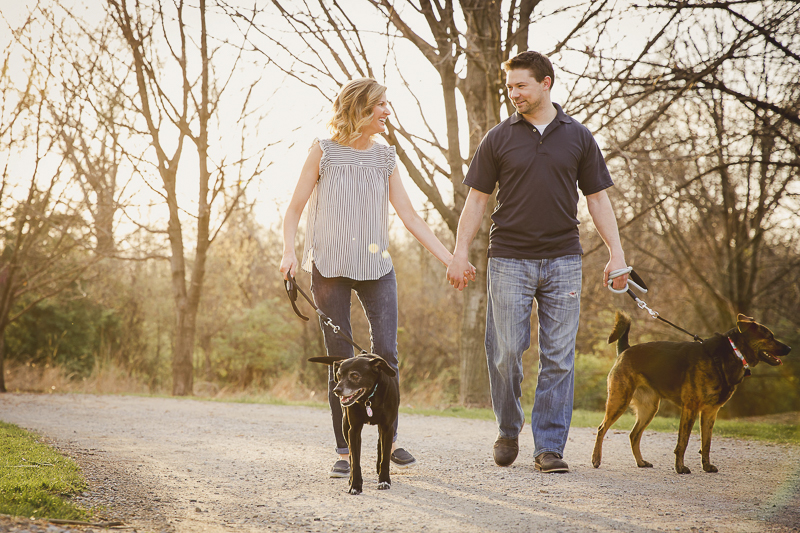 couple holding hands while walking dogs, ©Irish Eyes Photography | lifestyle family and dog photographer, St Louis