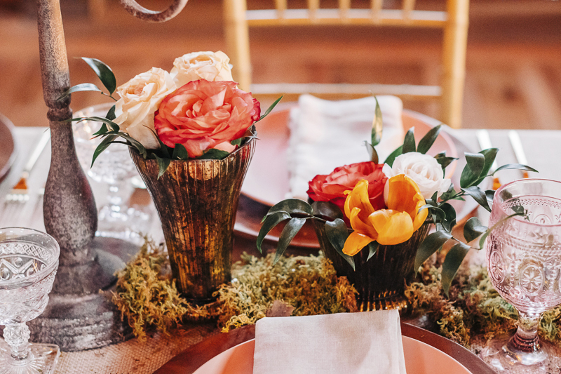table setting and floral details, wedding photography | Landrum Photography