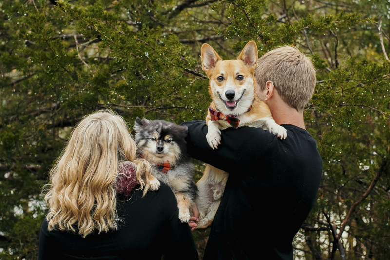 couple holding their dogs over their shoulders, Pomeranian, Corgi, ©Madison Robertson Photography | lifestyle dog and family photos