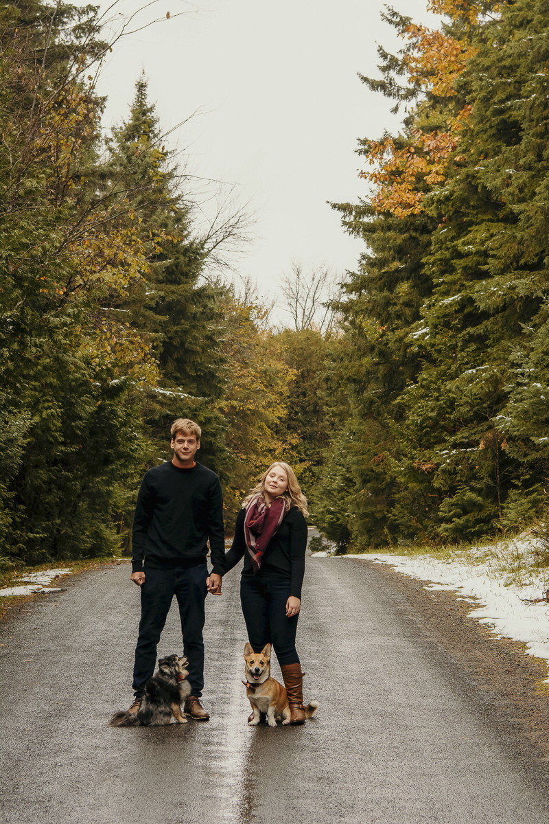 couple standing on country road with their small dogs, ©Madison Robertson Photography | Kingston, Ontario