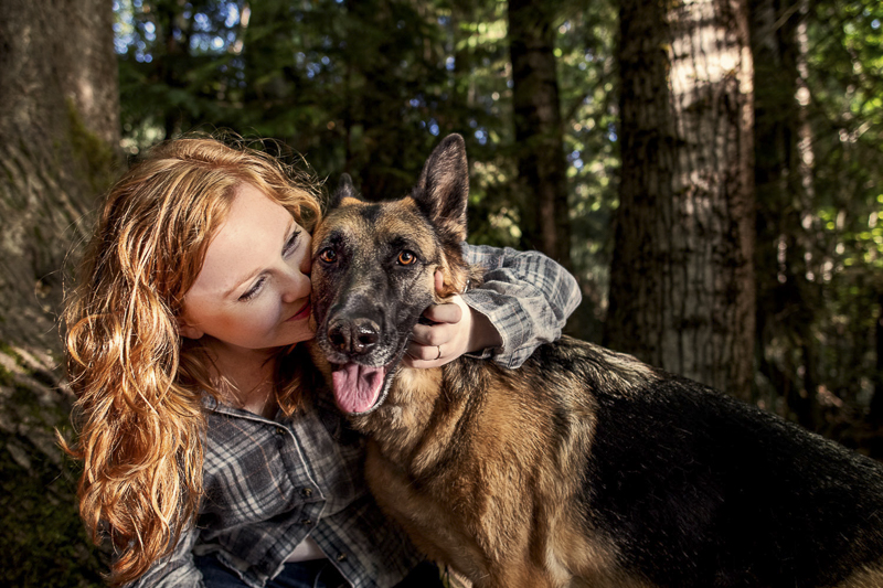 love between a girl and her dog, redhead and German Shepherd | ©Noses and Toes Photography, Spokane lifestyle dog photographer
