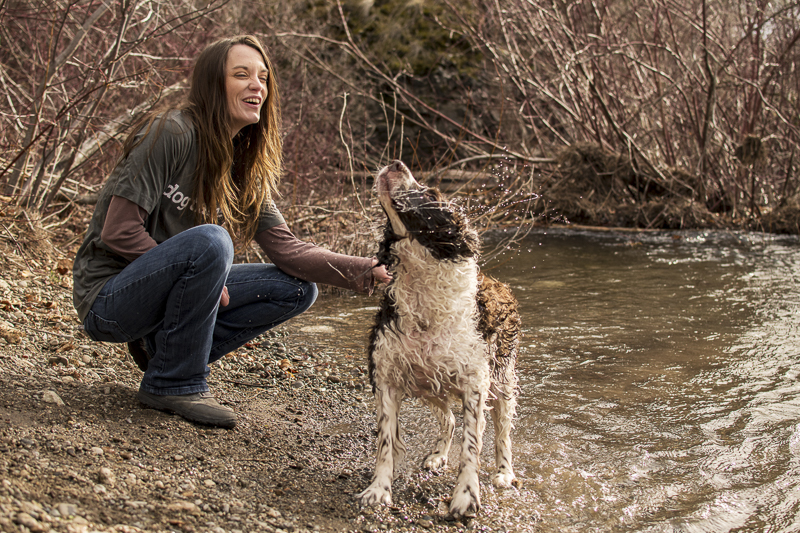 #agirlandherdog, Springer spaniel shaking off water, on location dog photography | ©Noses and Toes Photography, Spokane lifestyle dog photography