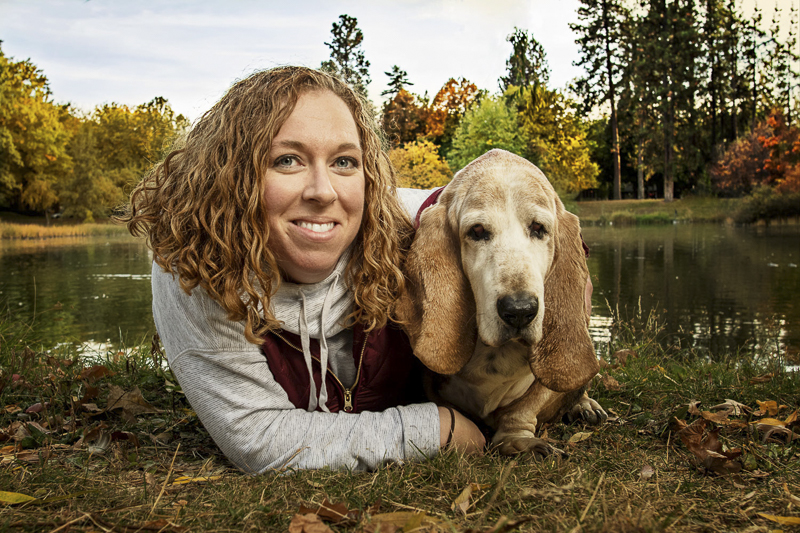 woman and Basset Hound, fall lifestyle dog photography ©Noses and Toes Photography, Spokane lifestyle dog photography