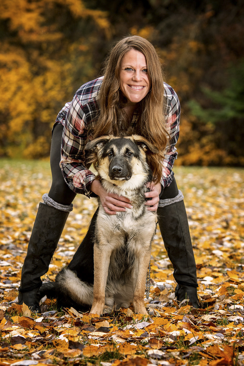 woman and her shepherd mix in autumn, A Girl And Her Dog, lifestyle dog photography | ©Noses and Toes Photography