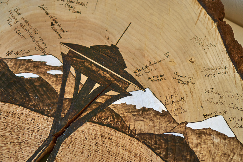 Seattle skyline woodburning, creative wedding guest book ©Lavender Bouquet Photography