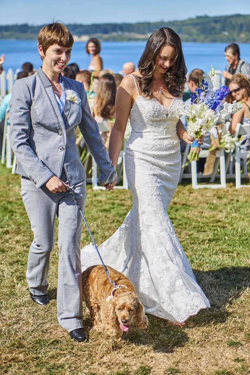 dog friendly wedding, same sex couple walking their dog down the aisle, ©Lavender Bouquet Photography