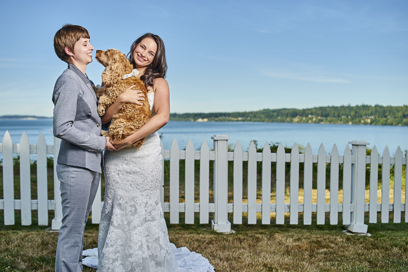 two brides and their dog, ©Lavender Bouquet Photography
