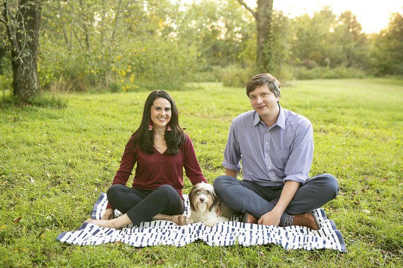 couple and their dog sitting on blanket in parklike setting, © Mandy Whitley Photography | Nashville lifestyle dog photography