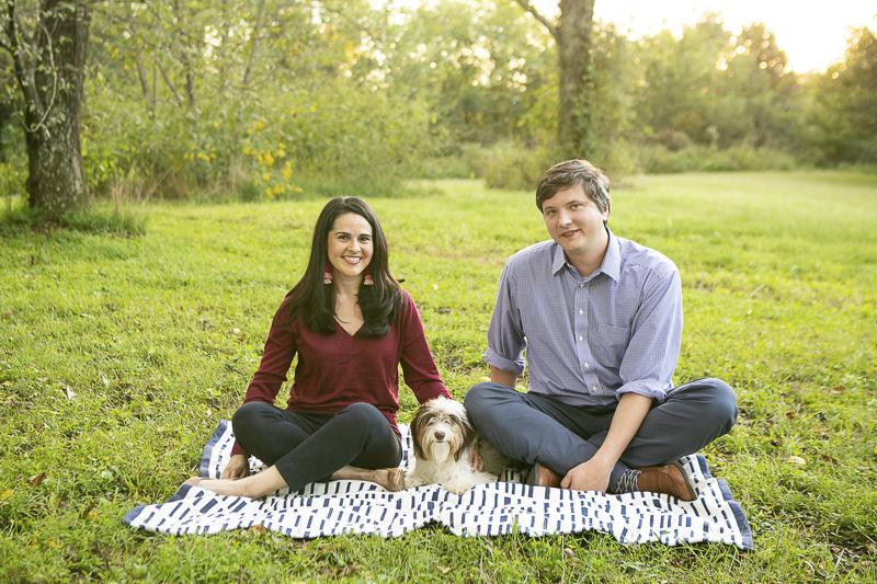 couple and their dog sitting on blanket in parklike setting, © Mandy Whitley Photography | Nashville lifestyle dog photography