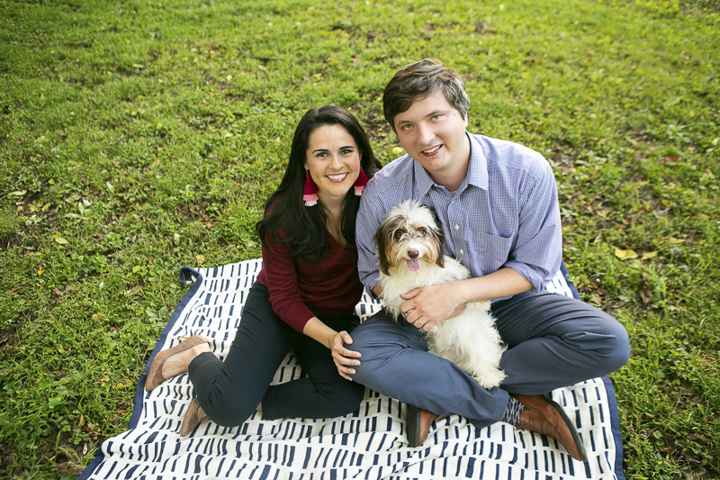 cute piebald Doxie and his humans, family portraits with pets, © Mandy Whitley Photography