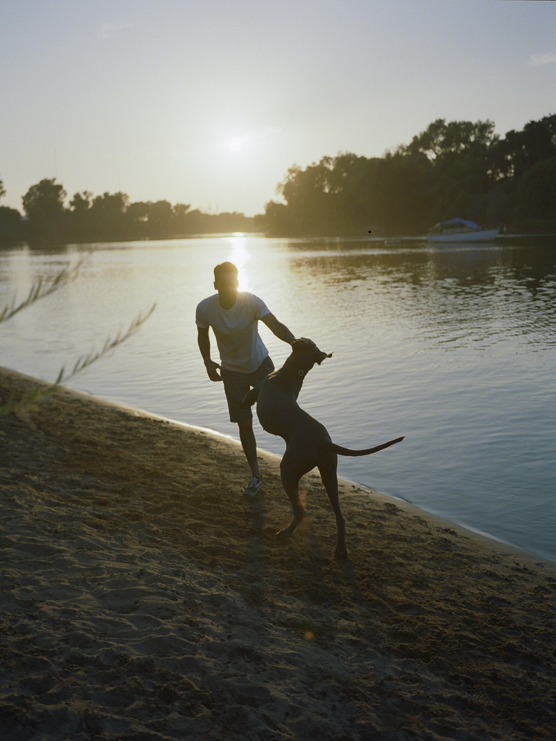 man and his dog playing on water's edge, ©Rachel Sima Photography | Sacramento lifestyle dog photography