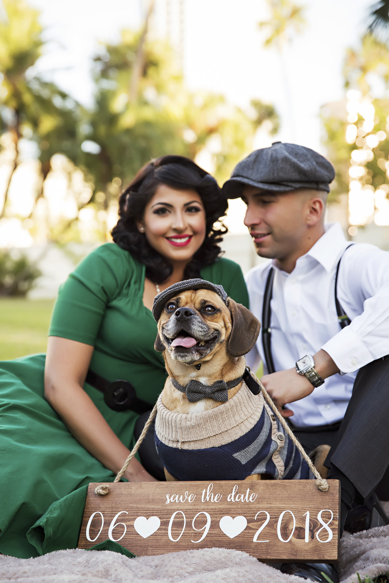 ©Limelight Photography | vintage style engagement photos with a Puggle
