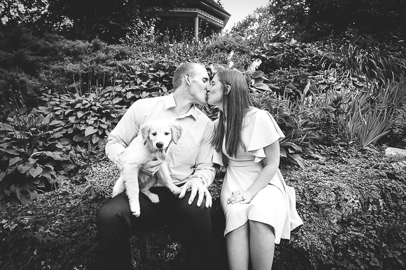 ©aim with mia photography, engagement pictures with a Golden Retriever puppy