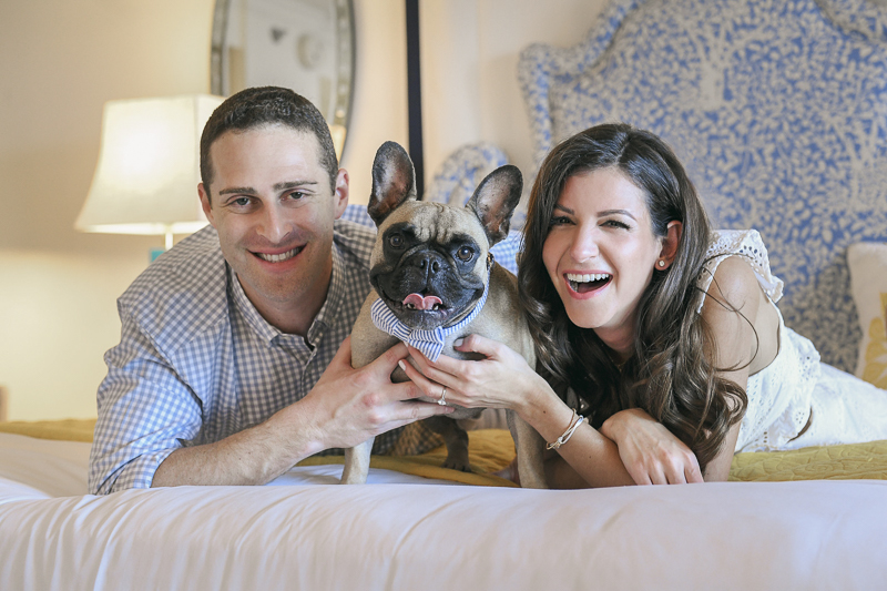 ©Domino Arts Photography | Eau Palm Springs Resort, engagement pictures with French Bulldog