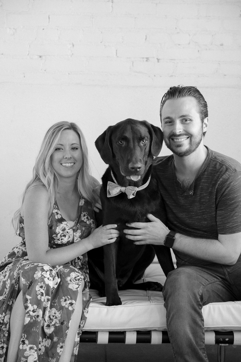 ©Nicole Caldwell Studio | studio engagement session with a Black Lab