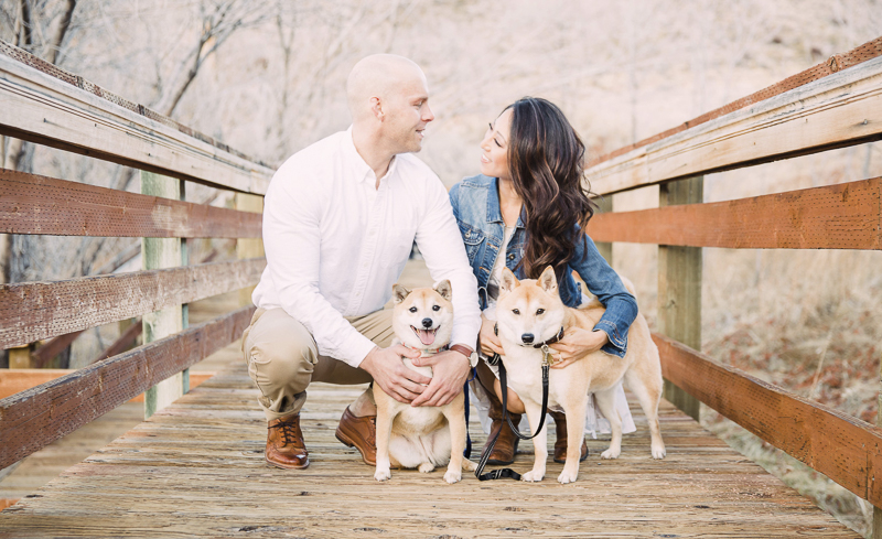 couple and their Shiba Inus on boardwalk, ©Alycia Moore Photography | Red Springs, Red Rock Canyon, Nevada