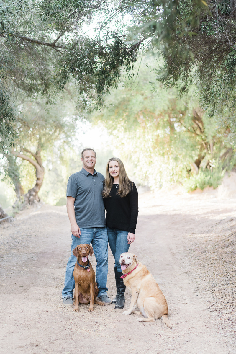 couple and their dogs on dirt road, Ojai Olive Oil, ©Jennifer Lourie Photograpy dog-friendly family portraits