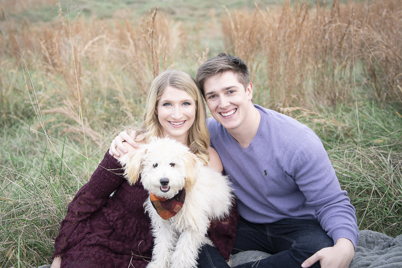 couple and cute Labradoodle puppy, ©Persuasion Photography | dog-friendly family photos, Memphis, TN