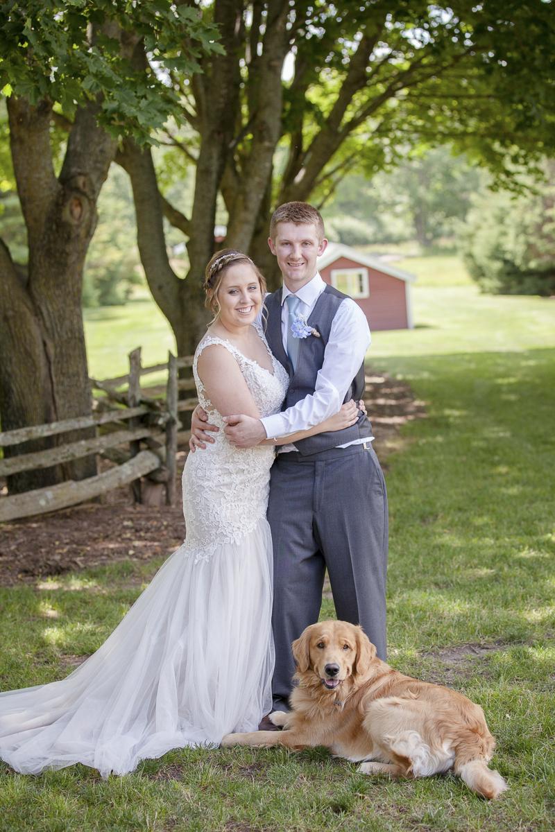 First look, bride, groom, and dog | ©Rheanna Lynn Photography, wedding dog