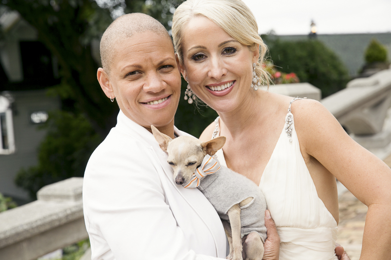 newlyweds and their Chihuahua same sex wedding photos with dog, wedding dog   ©Stephanie Cristalli Photography – dog-friendly wedding