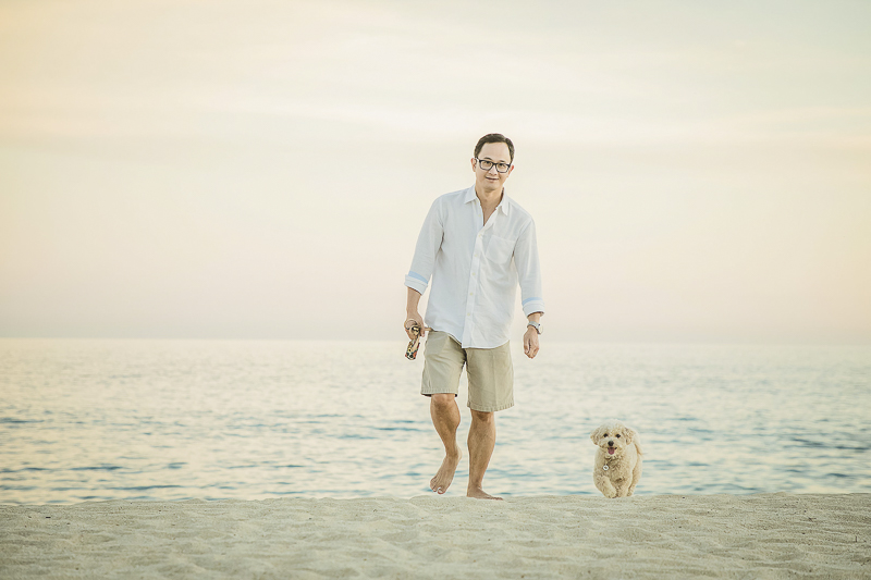 man and his pup on the beach | ©Daniel Jireh Photographer | Cabo San Lucas, Mexico