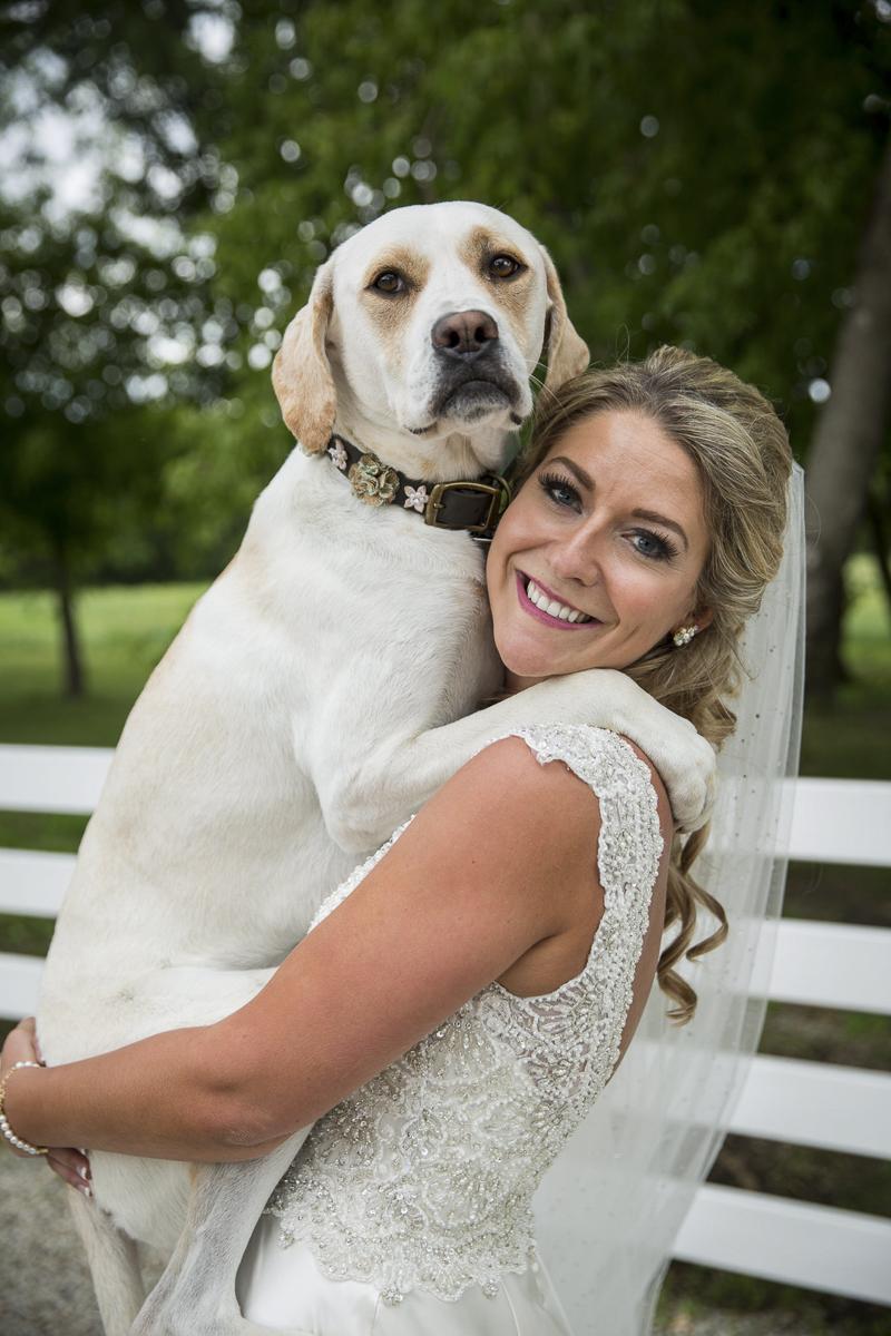 a girl and her dog, bride holding large Lab mix, wedding dog   ©Penny Photographics   Minnesota wedding photography