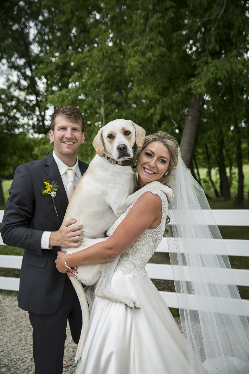 groom, bride and their dog, dog-friendly summer wedding ©Penny Photographics | Minnesota wedding photography