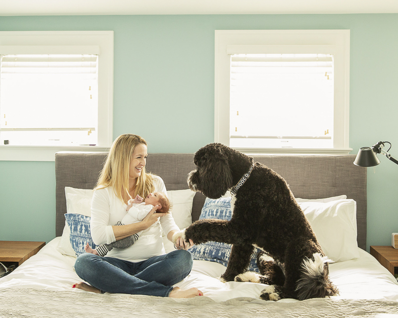 new mom, newborn and dog on the bed | ©Imagine It Photography | in home newborn session,