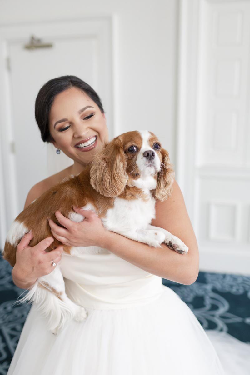bride and her dog, The Jefferson Hotel, Richmond, VA