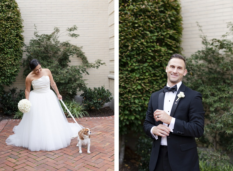 First Look with a dog, bride and dog, groom, The Jefferson Hotel,