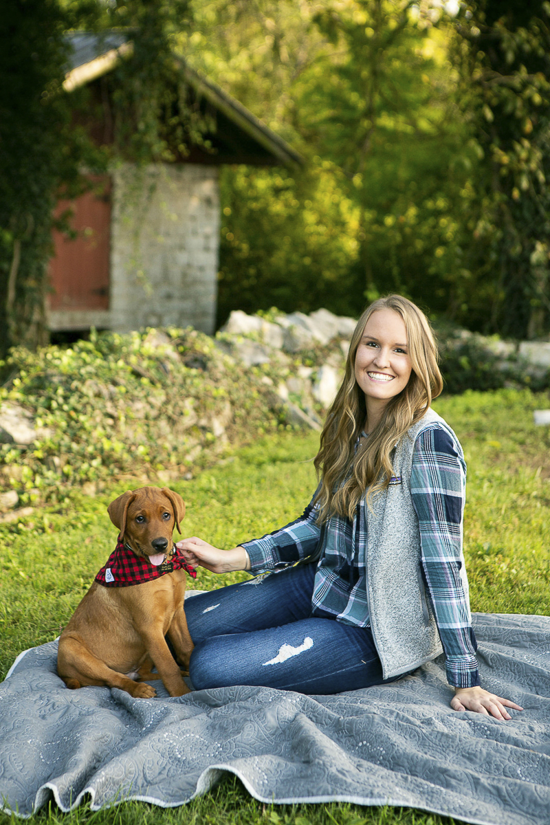 cute puppy wearing red checked bananda and his favorite person, girl and her dog | ©Mandy Whitley Photography
