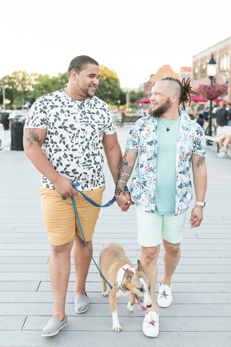 couple walking hand in hand while walking their Bull Terrier, ©Megan Rei Photography | lifestyle dog photography, Old Town Alexandria, LGBTQ engagement session