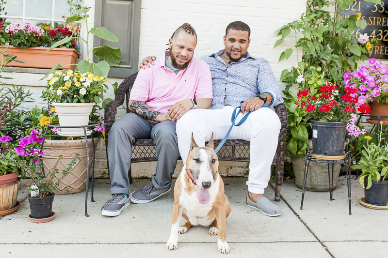 Two dog dads sitting on bench and their Bull Terrier, Old Town Alexandria ©Megan Rei Photography | lifestyle dog photography
