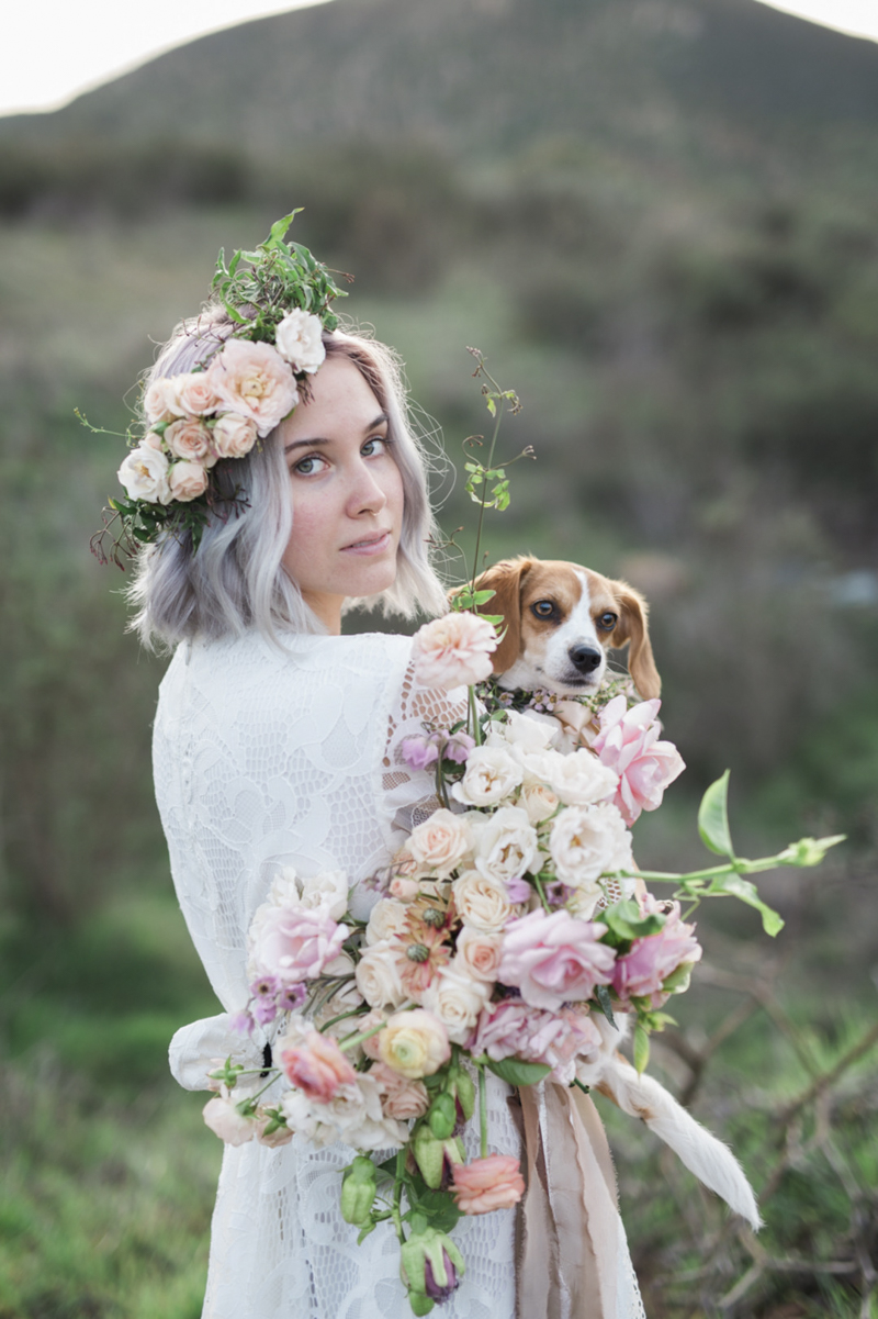 woman holding dog and beautiful bouquet, ©My Sun And Stars | San Diego, ideas for dog-friendly wedding