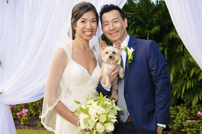 bride, groom, holding their Shih Tzu-Yorkie mix | ©Toni Jade Photography