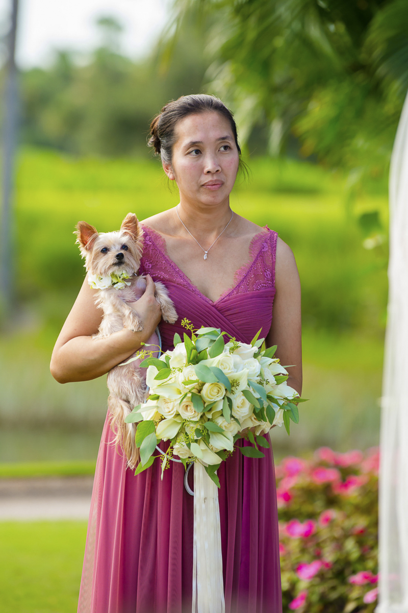 maid of honor holding Shih Tzu-Yorkie mix, wedding dog | ©Toni Jade Photography